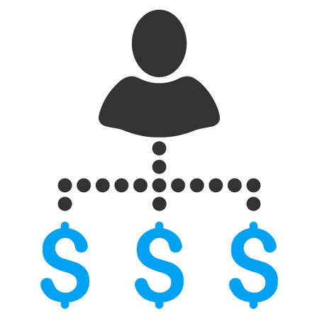 Person Payments icon. Vector style is bicolor flat iconic symbol with rounded angles, blue and gray colors, white background.