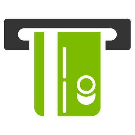 automatic transaction machine: ATM icono Terminal. estilo glifo es bicolor símbolo icónico plana con ángulos redondeados, eco colores verde y gris, fondo blanco. Foto de archivo
