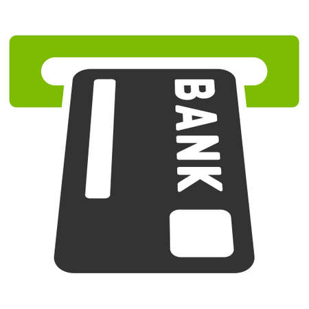 automatic transaction machine: ATM Terminal icon. Glyph style is bicolor flat iconic symbol with rounded angles, eco green and gray colors, white background.