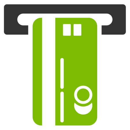automatic transaction machine: ATM Machine icon. Glyph style is bicolor flat iconic symbol with rounded angles, eco green and gray colors, white background.