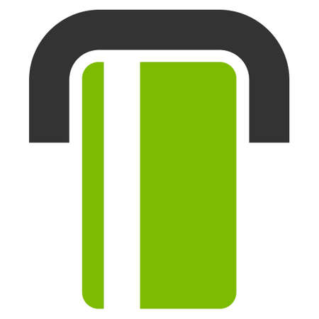 automatic transaction machine: ATM icon. Glyph style is bicolor flat iconic symbol with rounded angles, eco green and gray colors, white background. Foto de archivo