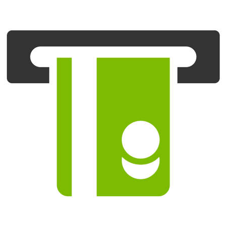 automatic transaction machine: Automated Banking Service icon. Glyph style is bicolor flat iconic symbol with rounded angles, eco green and gray colors, white background.