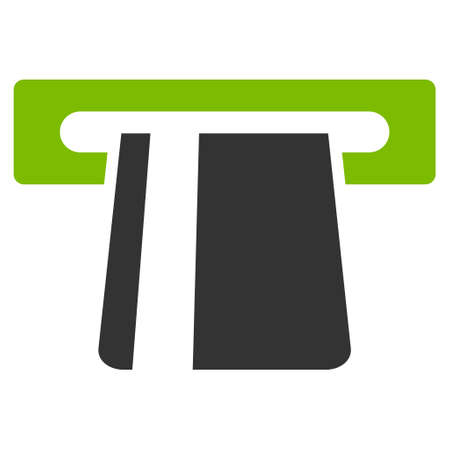 automatic transaction machine: Bank Card Terminal icon. Glyph style is bicolor flat iconic symbol with rounded angles, eco green and gray colors, white background.