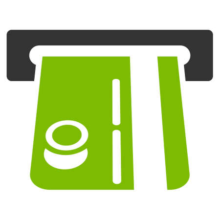 automatic transaction machine: Bank Terminal icon. Glyph style is bicolor flat iconic symbol with rounded angles, eco green and gray colors, white background.