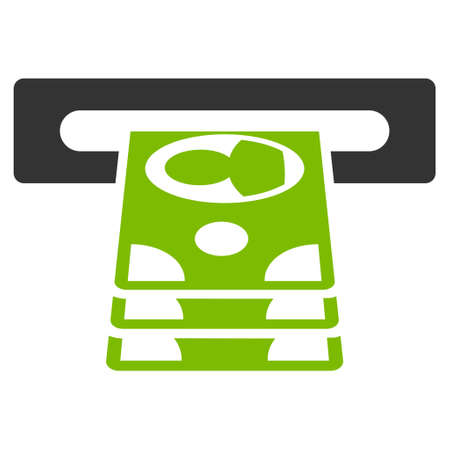 automatic transaction machine: Cashpoint icon. Glyph style is bicolor flat iconic symbol with rounded angles, eco green and gray colors, white background.