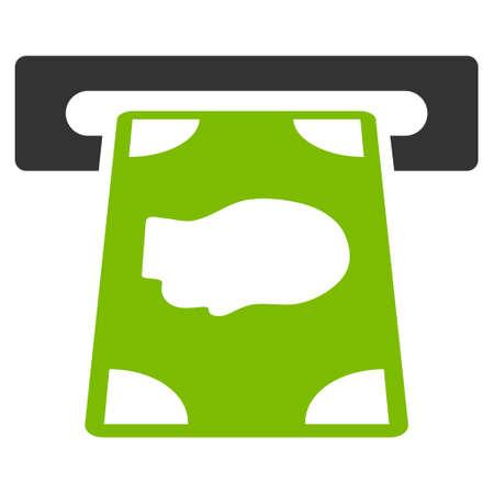 automatic transaction machine: icono de cajero automático. estilo glifo es bicolor símbolo icónico plana con ángulos redondeados, eco colores verde y gris, fondo blanco.