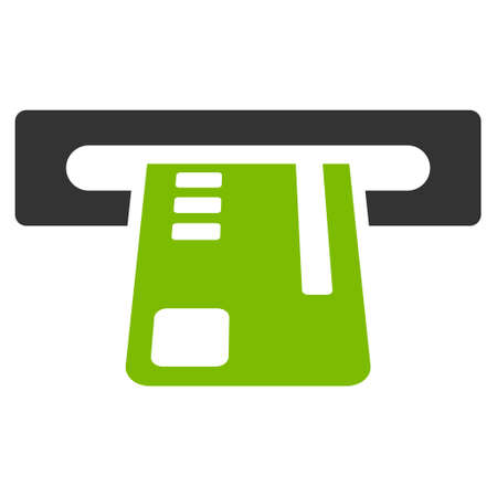 automatic transaction machine: Ticket Terminal icon. Glyph style is bicolor flat iconic symbol with rounded angles, eco green and gray colors, white background.
