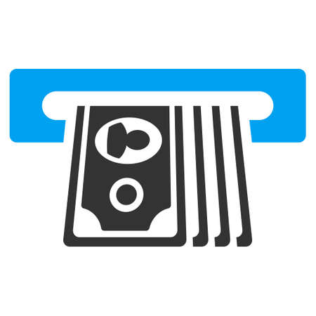 withdraw: ATM Insert Cash icon. Vector style is bicolor flat iconic symbol with rounded angles, blue and gray colors, white background.