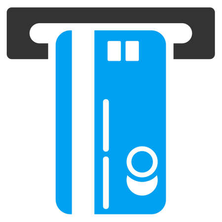 automatic transaction machine: ATM Machine icon. Vector style is bicolor flat iconic symbol with rounded angles, blue and gray colors, white background.
