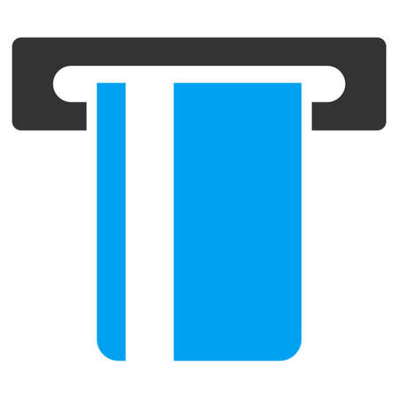 automatic transaction machine: ATM Terminal icon. Vector style is bicolor flat iconic symbol with rounded angles, blue and gray colors, white background.