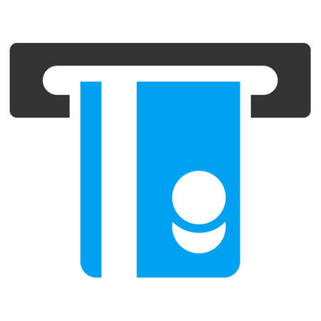 automated: Automated Banking Service icon. Vector style is bicolor flat iconic symbol with rounded angles, blue and gray colors, white background.