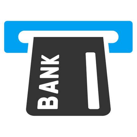 automatic transaction machine: Icono de la banca ATM. estilo vector es bicolor símbolo icónico plana con ángulos redondeados, colores azul y gris, fondo blanco. Vectores