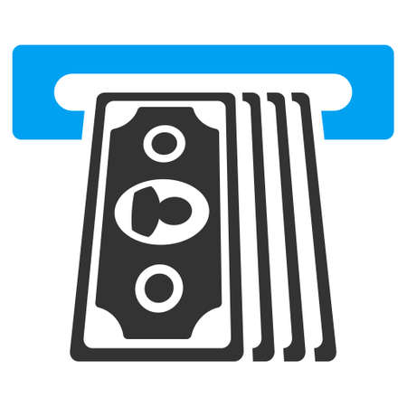 automatic transaction machine: Cashpoint Terminal icon. Vector style is bicolor flat iconic symbol with rounded angles, blue and gray colors, white background. Vectores