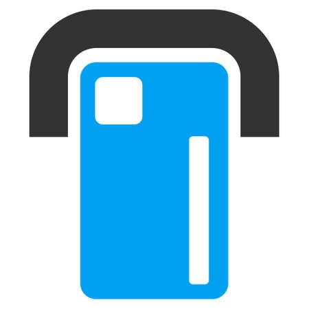 automatic transaction machine: icono Terminal de pago. estilo vector es bicolor símbolo icónico plana con ángulos redondeados, colores azul y gris, fondo blanco. Vectores