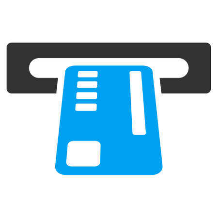 automatic transaction machine: Ticket Machine icon. Vector style is bicolor flat iconic symbol with rounded angles, blue and gray colors, white background.