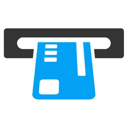 cashpoint: Ticket Terminal icon. Vector style is bicolor flat iconic symbol with rounded angles, blue and gray colors, white background.