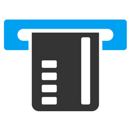 automatic transaction machine: Ticket Terminal icon. Vector style is bicolor flat iconic symbol with rounded angles, blue and gray colors, white background.