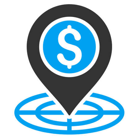 financial position: Bank Location icon. Vector style is bicolor flat iconic symbol with rounded angles, blue and gray colors, white background.