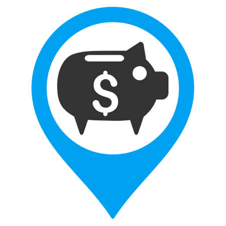 market place: Bank Map Marker icon. Vector style is bicolor flat iconic symbol with rounded angles, blue and gray colors, white background.