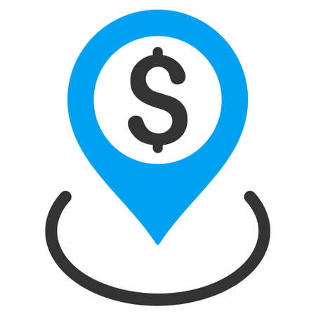 financial position: Dollar Location icon. Vector style is bicolor flat iconic symbol with rounded angles, blue and gray colors, white background. Illustration