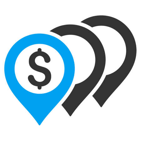 map pointers: Dollar Map Pointers icon. Vector style is bicolor flat iconic symbol with rounded angles, blue and gray colors, white background. Illustration