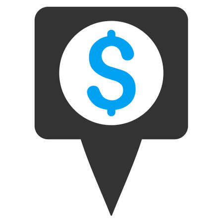 map marker: Money Map Marker icon. Vector style is bicolor flat iconic symbol with rounded angles, blue and gray colors, white background.