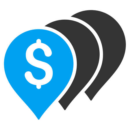 map pointers: Money Map Pointers icon. Vector style is bicolor flat iconic symbol with rounded angles, blue and gray colors, white background. Illustration