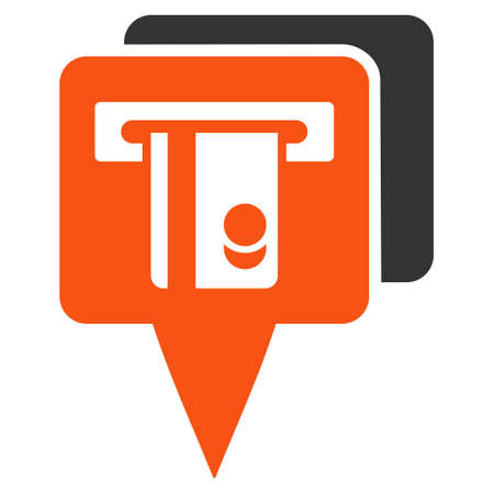 pinpoint: ATM Pointers icon. Glyph style is bicolor flat iconic symbol with rounded angles, orange and gray colors, white background. Stock Photo