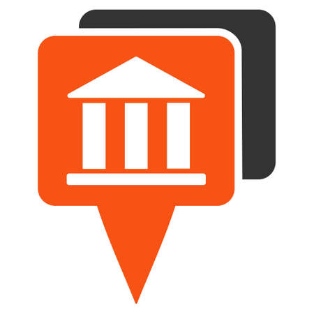 Bank Map Pointers icon. Glyph style is bicolor flat iconic symbol with rounded angles, orange and gray colors, white background. Stock Photo