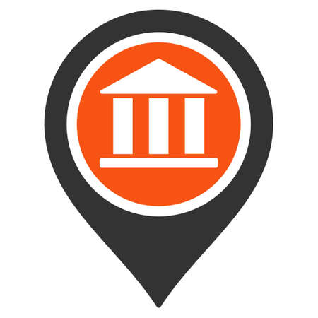 Bank Map Pointer icon. Glyph style is bicolor flat iconic symbol with rounded angles, orange and gray colors, white background.
