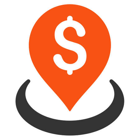Bank Placement icon. Glyph style is bicolor flat iconic symbol with rounded angles, orange and gray colors, white background.