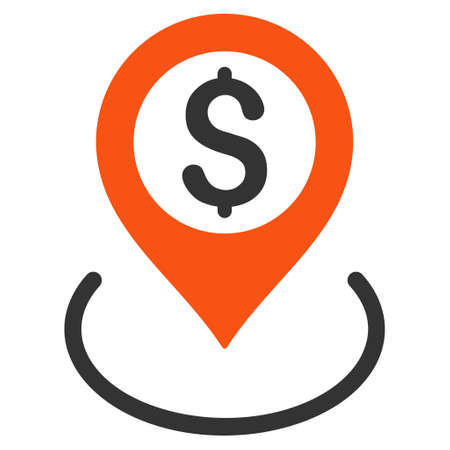 dollar icon: Dollar Location icon. Glyph style is bicolor flat iconic symbol with rounded angles, orange and gray colors, white background.