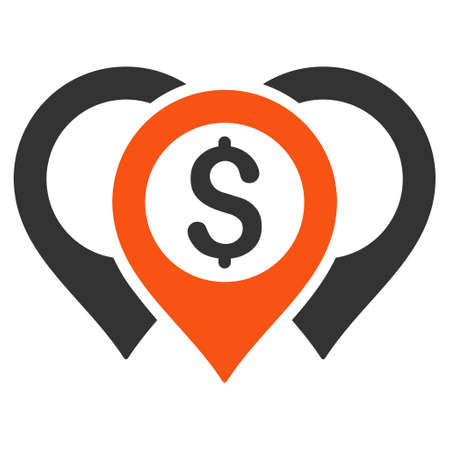 pinpoint: Dollar Map Pointers icon. Glyph style is bicolor flat iconic symbol with rounded angles, orange and gray colors, white background.
