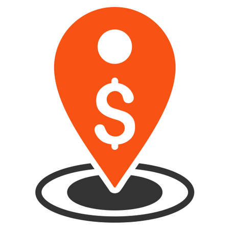 Money Place icon. Glyph style is bicolor flat iconic symbol with rounded angles, orange and gray colors, white background.