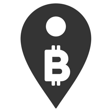 coordinates: Bitcoin Map Marker icon. Vector style is flat iconic symbol with rounded angles, gray color, white background.