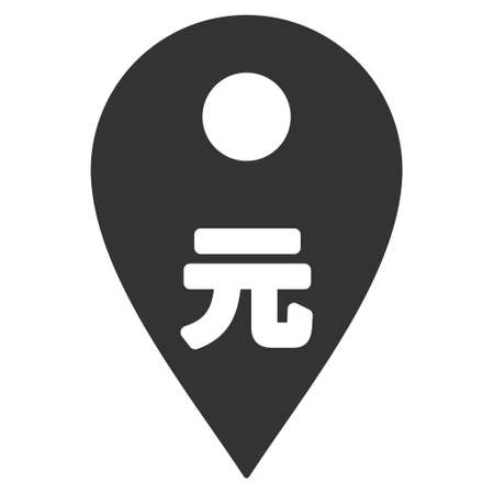 financial position: Yuan Map Marker icon. Vector style is flat iconic symbol with rounded angles, gray color, white background. Illustration