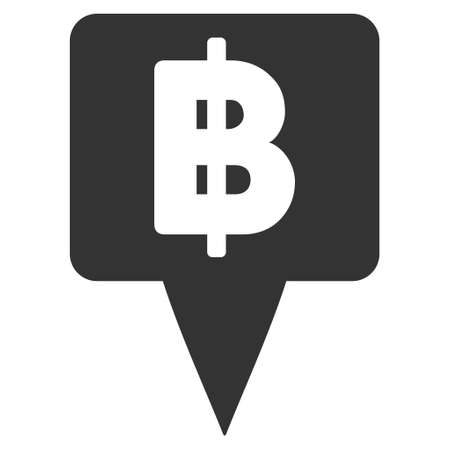 Thai Baht Map Pointer Icon Vector Style Is Flat Iconic Symbol