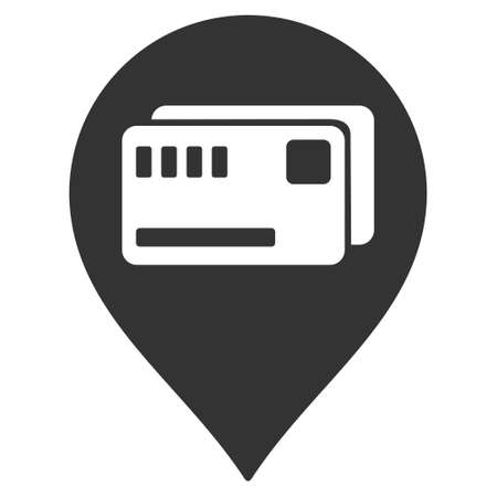admittance: Tickets Map Marker icon. Vector style is flat iconic symbol with rounded angles, gray color, white background. Illustration