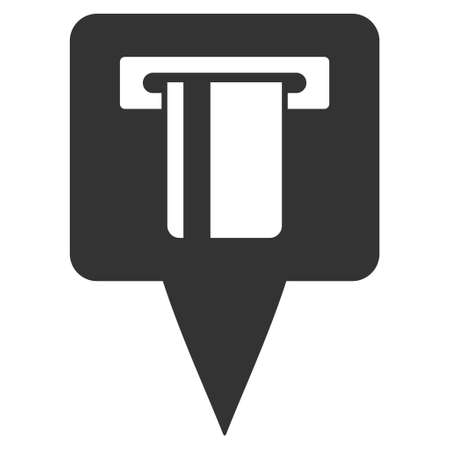 financial position: ATM Machine Map Pointer icon. Vector style is flat iconic symbol with rounded angles, gray color, white background. Illustration