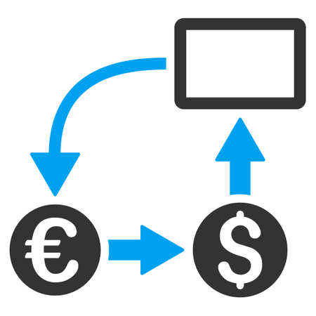 Cashflow Euro Exchange icon. Vector style is bicolor flat iconic symbol with rounded angles, blue and gray colors, white background.
