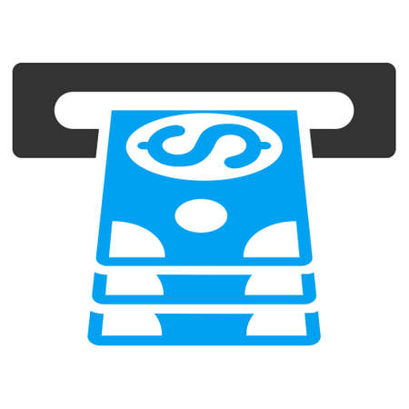 cashpoint: Bank Cashpoint icon. Vector style is bicolor flat iconic symbol with rounded angles, blue and gray colors, white background.