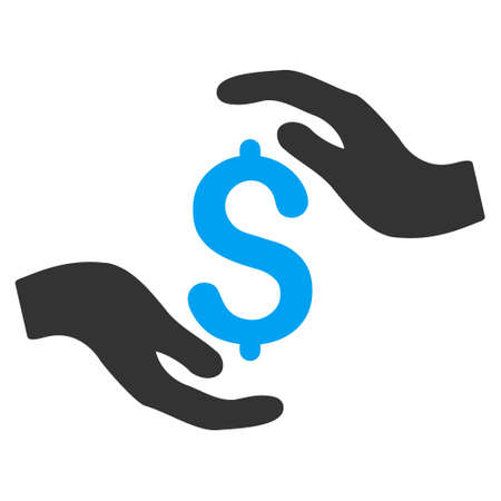 carefully: Dollar Care Hands icon. Vector style is bicolor flat iconic symbol with rounded angles, blue and gray colors, white background.