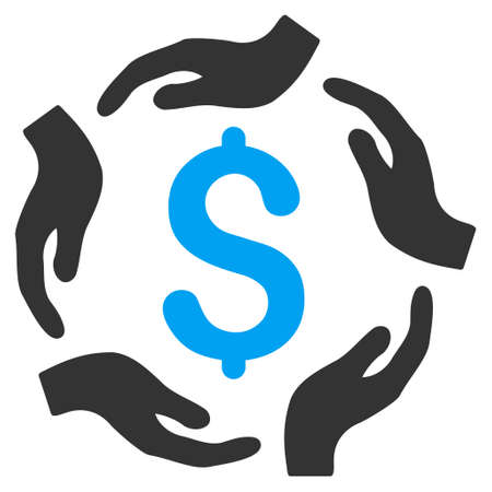 Dollar Care Hands icon. Vector style is bicolor flat iconic symbol with rounded angles, blue and gray colors, white background.