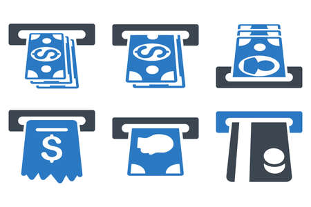 cashpoint: ATM Cashpoint vector icons. Icon style is bicolor smooth blue flat symbols with rounded angles on a white background.