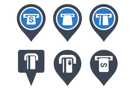 financial position: ATM Map Pointer vector icons. Icon style is bicolor smooth blue flat symbols with rounded angles on a white background.