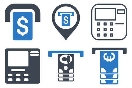 automatic transaction machine: ATM Terminal iconos vectoriales. Icono de estilo es bicolor símbolos azules planas lisas con ángulos redondeados en un fondo blanco. Vectores