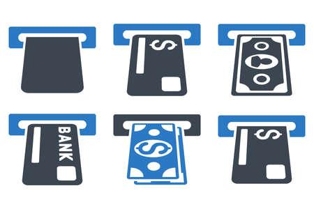 Banca ATM iconos vectoriales. Icono de estilo es bicolor símbolos azules planas lisas con ángulos redondeados en un fondo blanco.