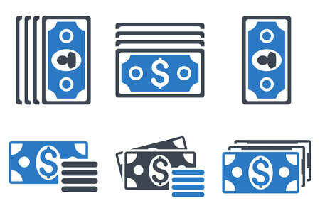 banknotes: Banknotes vector icons. Icon style is bicolor smooth blue flat symbols with rounded angles on a white background. Illustration