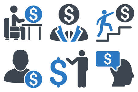 moneymaker: Businessman vector icons. Icon style is bicolor smooth blue flat symbols with rounded angles on a white background.