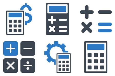 adder: Calculator vector icons. Icon style is bicolor smooth blue flat symbols with rounded angles on a white background.